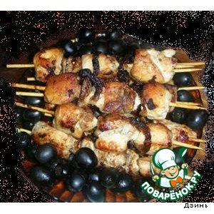 Рецепт: Шашлычок из куриной грудки
