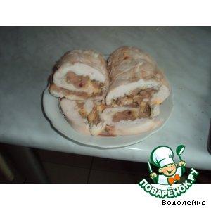 Рецепт: Рулет из куриной грудки с печенью