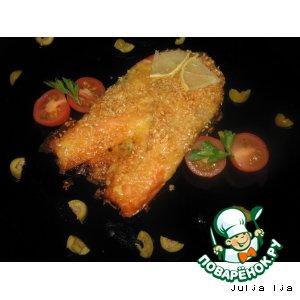 Рецепт: Сливочная форель с сырно-кунжутной корочкой