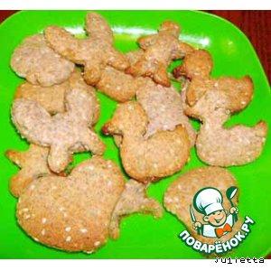 Рецепт: Печенье сдобное с отрубями, семечками подсолнуха и кунжута