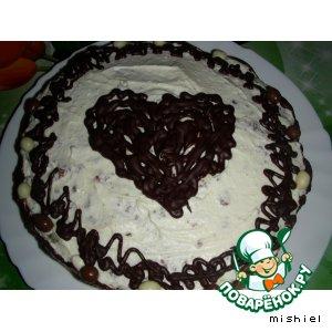 Шоколадный торт с вишней и творожным кремом – кулинарный рецепт