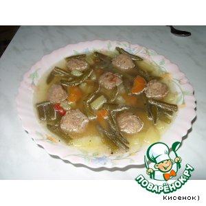 Рецепт: Суп с зеленой фасолью и фрикадельками
