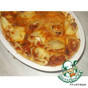 Рецепт: Рулеты из лазаньи с сырной начинкой