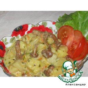 Рецепт: Картофель с лисичками в сметане