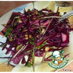 Рецепт: Салат из краснокочанной капусты с проростками