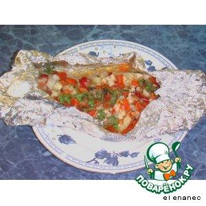 Рецепт: Рыба с овощами, запеченная в фольге