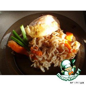 Рецепт: Курица, фаршированная тыквой и лапшой