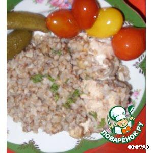 Рецепт: Гречневая каша с курицей в горшочке