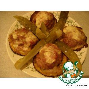Рецепт: Котлеты мясные на тарелочках из кабачков