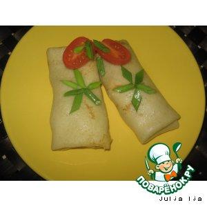 Рецепт: Блинчики с курицей и овощами в сливочно-сырном соусе