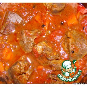 Рецепт: Сердце, тушенное в томатном соусе