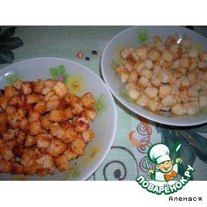 Рецепт: Сухарики с куриным и томатным вкусами