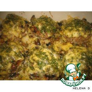Рецепт: Котлеты, запеченные с грибами и сыром
