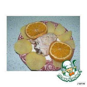 Рецепт: Курица в собственном соку с апельсином