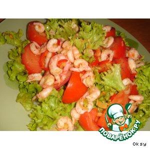 Рецепт: Салат из креветок с лимонником