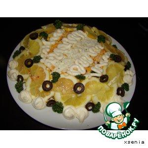 Рецепт: Салат из крабовых палочек Солнечный