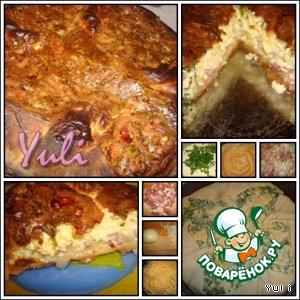 Рецепт: Французский пирог с сыром, зеленью и салом