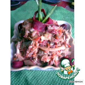 Рецепт: Салат из печени с овощами