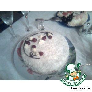 """Рецепт: Тортик """"Зимняя сказка"""" с персиками"""