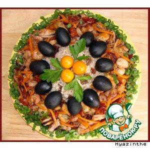 Рецепт: Горячий салат с морепродуктами