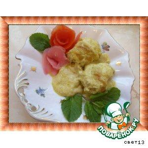 Рецепт: Рыбные котлеты, запеченные под нежным соусом