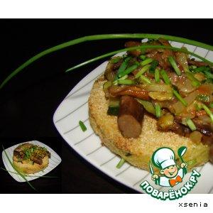 Рецепт: Картофельные биточки с овощами и грибами