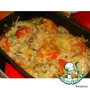 Рецепт: Красная рыба, запеченная с томатом и сыром