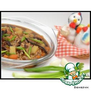Рецепт: Постный грибной суп с перловкой