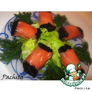 Рецепт: Рыбные рулеты Звeздные