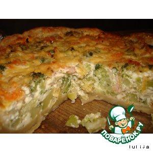 Рецепт: Киш-пирог с креветками и овощами