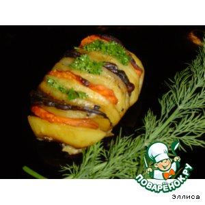 Рецепт: Картофель Гармошка с грибами и морковью