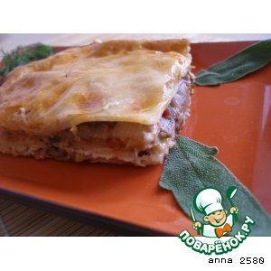 Рецепт: Лазанья с баклажанами и белыми грибами