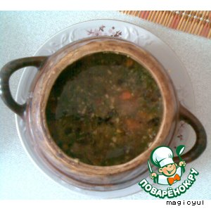 Рецепт: Зеленый борщ в горшочках
