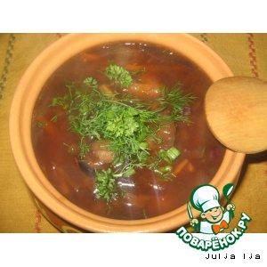 Рецепт Постный борщ с грибами, фасолью и краснокочанной капустой