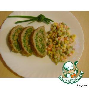Рецепт: Рулет мясной со шпинатом