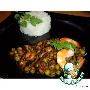 Рецепт: Рисовая вермишель с креветками по-китайски