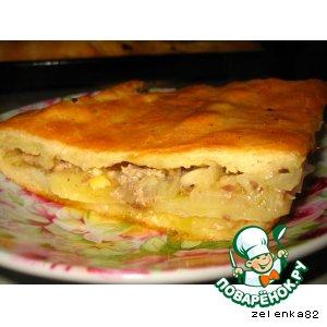 Рецепт: Пирог с картофелем и сайрой