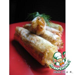 Рецепт: «Канеллони» из лука-порея с рисом и креветкой