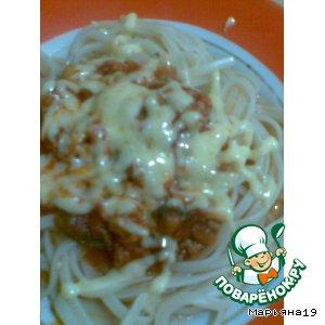 Рецепт Спагетти с грибами и куриным фаршем