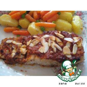 """Филе   рыбы   под   соусом    """" pesto    rosso"""""""