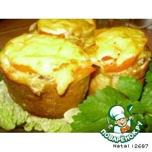 Рецепт: Багет, фаршированный курицей и грибами