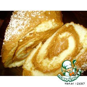 Рецепт: Бисквитный рулет «Шоколадно-ореховое наслаждение»