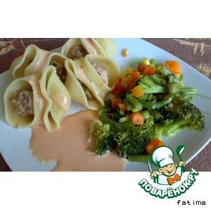 Рецепт: Лумакони с овощами