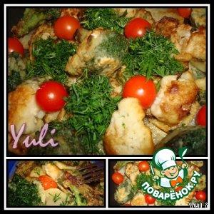 Рецепт: Картофель с жареными  огурцами и шпинатом