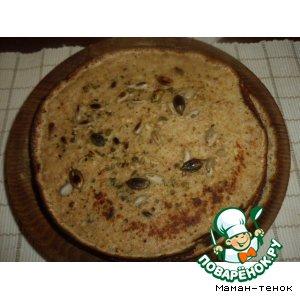 Рецепт Блинчики с отрубями и очищенными семечками (тыквы, подсолнечника и кунжута)
