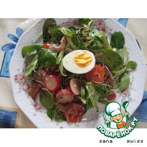 Рецепт: Листья салата в соусе с бальзамическим уксусом и горчицей