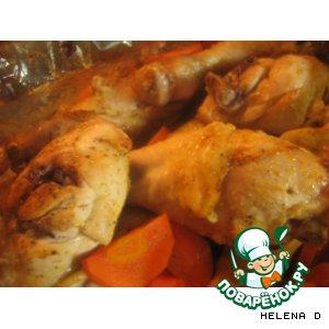Рецепт: Курица в маринаде из кефира и кориандра