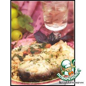 Рецепт: Рыба, тушенная в белом вине с фасолью