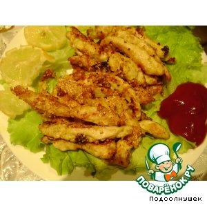 Рецепт: Куриные палочки в кунжуте