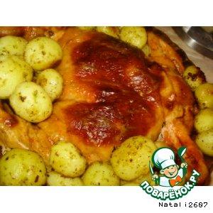 Рецепт: Фаршированная курочка «Райская пташка» с картофельным гарниром